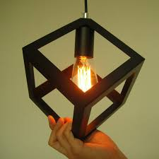 newest deco vintage e27 pendant light led l metal cube cage