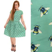 retro bumble bee print dress by run and fly