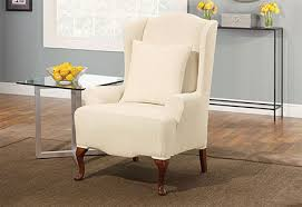 sure fit slipcovers wing chair sure fit stretch pinstripe wing chair slipcover