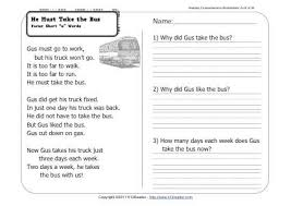 he must take the bus 1st grade reading comprehension worksheet wk 24