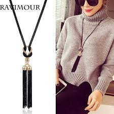 long necklace images Wholesale ravimour long necklace gold black chains necklaces jpg