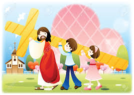 jesus carrying the cross with children royalty free cliparts