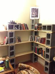 Diy Patio Furniture Cinder Blocks Book Shelve Made From Six Cinder Block And Two Plank Of Wood