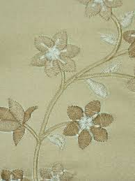 Silk Draperies Ready Made Franklin Deep Champagne Embroidered Floral Eyelet Faux Silk