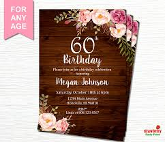 60th birthday invitations for women floral birthday