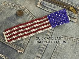 American Flag Awesome American Flag Peyote Stitch Bracelet Pattern Make It In An