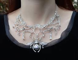 white quartz necklace images Quartz crystal bee necklace ice queen fairy jewelry white