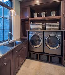 washing machine with built in sink washing machine drain pan laundry room transitional with buckets