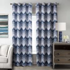 interior beautiful blue white fabric striped window curtain