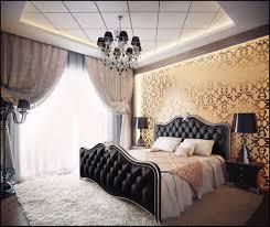 luxury bedroom ceiling design white table lamp on bedside dark