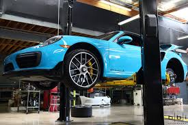 miami blue porsche turbo s miami blue porsche 991 2 turbo s cab bbi exhaust install