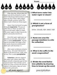 water cycle cross curricular water cycle and reading passages