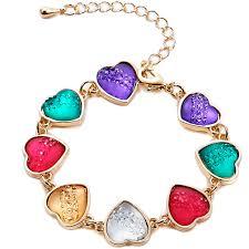 fashion bracelet designs images Beautiful designer colourful resin enhanced hearts design gold jpg