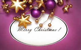 Purple Gold Christmas Decorations Wallpaper Merry Christmas Holiday Metallic Balls Stars Download