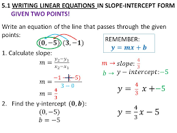 5 1 writing linear equations in slope intercept form given two points