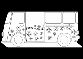 hippie van drawing peace love hippie van black white christmas xmas peace on e h