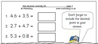 maths worksheet add decimals mentally 2 maths blog