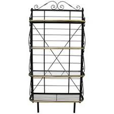 Contemporary Bakers Rack Stylish Mid Century Modern Style Wood And Metal Wine Rack For Sale