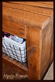 Diy Wood Storage Bench by Pallet Wood Storage Bench Hometalk