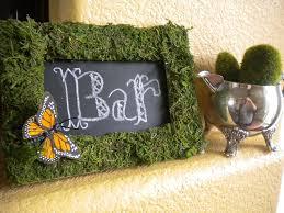 moss wedding ceremony reception decor eco friendly chalkboard sign