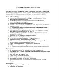 Resume For Warehouse Associate Sample Warehouse Worker Resume 9 Examples In Word Pdf