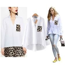 womens cotton blouses womens cotton blouses sleeve leopard pocket white shirts