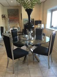 Glass Chrome Cross Leg Dining Table Set   Black Chairs - Chrome kitchen table