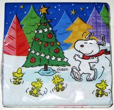 snoopy tree snoopy woodstocks around christmas tree cocktail napkins