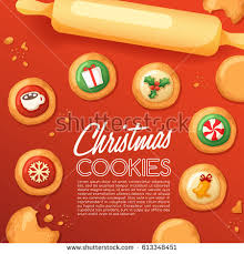 frosted sugar cookies cute christmas cookies stock vector