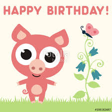 happy birthday cute little pig with flower and butterfly