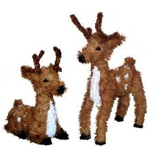 set of 2 sitting standing reindeer decorations