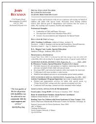 Job Resume Examples 2014 by Special Education Teacher Resume Berathen Com