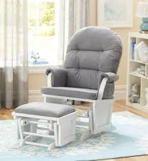 Stork Craft Rocking Chair Shermag Aiden Glider And Ottoman Set White With Grey Fabric