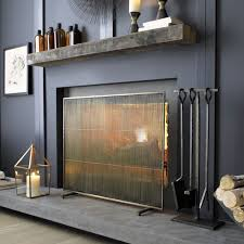 Free Standing Fireplace Screens by Antiqued Brass Fireplace Screen Hearths Antique Brass And Mid