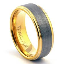 mens gold wedding band gold tungsten ring wedding band brushed jewelry