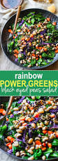 vegan rainbow power greens salad with black eyed peas