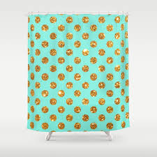 Gold And Teal Curtains Chic Gold Glitter Polka Dots Pattern On Turquoise Shower Curtain