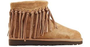 ugg wynona sale lyst ugg wynona fringe sheepskin boots brown in