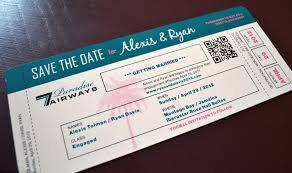 destination wedding plane ticket save the date invitation