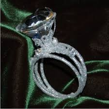 encrusted band with solitaire ring ornament