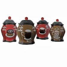 4 piece ceramic canister set kitchen counter coffee food storage