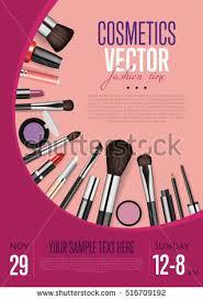 makeup artist accessories cosmetics product presentation poster makeup accessories stock