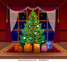 christmas tree living room spruce gifts stock vector 684089374