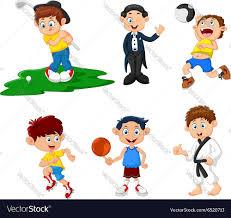 many children doing sport cartoon royalty free vector image