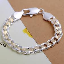 silver bracelet styles images Whole salemen 39 s jewelry 925 pure silver plated 10mm 21cm golden jpg