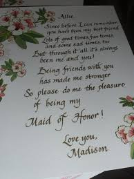 poems to ask bridesmaids bridesmaid poem fancy and freehand portfolio