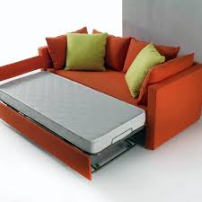 modern loveseat with twin size bed in orange color decofurnish