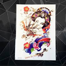 japanese geisha design large arm sleeve flash