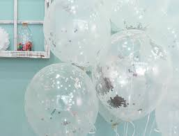 5x clear silver foil confetti transparent balloons happy