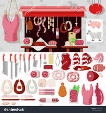 flat style butcher shop workplace icons stock vector 311617475